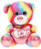 Afgeprijsde pluche beren knuffel regenboog 40 cm