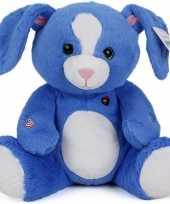 Afgeprijsde pluche knuffeldieren konijn blauw 30 cm
