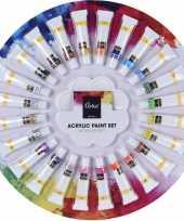 Afgeprijsde schilderen acrylverf tubes met palet