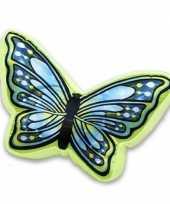 Afgeprijsde sierkussen in vlindervorm groen blauw 50 cm