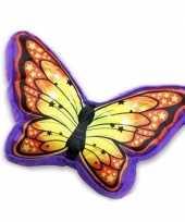 Afgeprijsde sierkussen in vlindervorm paars oranje 50 cm