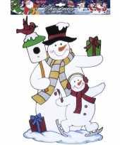 Afgeprijsde sneeuwpop raamsticker herbruikbaar