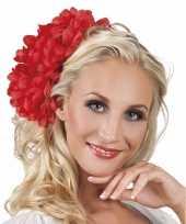 Afgeprijsde spaanse bloem haarklem rood 20 cm