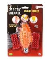 Afgeprijsde speelgoed handgranaat met plaffertjes met 96 schoten oranje 14 c