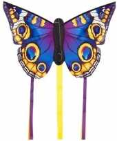 Afgeprijsde speelgoed vlieger blauwe vlinder 52 x 34 cm met 2 staarten
