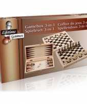 Afgeprijsde spelldoos backgammon schaken en dammen