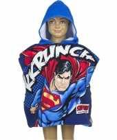 Afgeprijsde superman zwembadponcho met blauwe capuchon