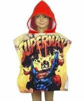 Afgeprijsde superman zwembadponcho met rode capuchon