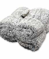 Afgeprijsde tweepersoons bedsprei plaid knut antraciet grijs 150 x 200 cm nepbont zachte stof