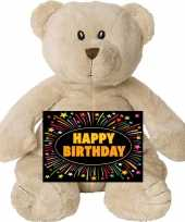 Afgeprijsde verjaardag knuffel beer 17 cm met gratis verjaardagskaart