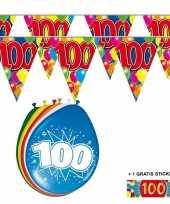 Afgeprijsde voordeelverpakking 100 jaar met 2 slingers en ballonnen