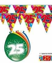 Afgeprijsde voordeelverpakking 25 jaar met 2 slingers en ballonnen