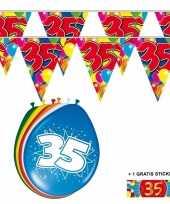Afgeprijsde voordeelverpakking 35 jaar met 2 slingers en ballonnen
