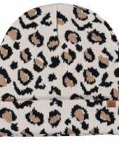 Afgeprijsde warme wintermuts met beige luipaard print voor kinderen