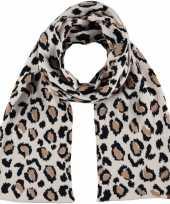Afgeprijsde warme wintersjaal met beige luipaard print voor kinderen