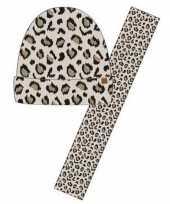 Afgeprijsde winter accessoires setje beige panter dieren print voor meisjes