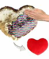 Afgeprijsde woondecoratie hartjes kussens goud rood metallic met pailletten 50 cm