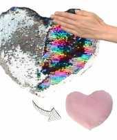 Afgeprijsde woondecoratie hartjes kussens zilver roze metallic met pailletten 50 cm