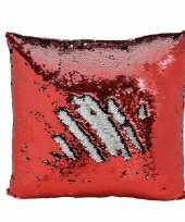 Afgeprijsde woondecoratie wrijf kussens rood zilver metallic met pailletten 40 cm
