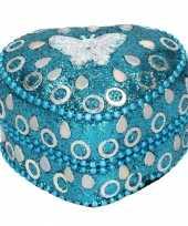 Blauw tandendoosje met vlinder 6 cm