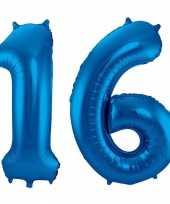 Blauwe folie ballonnen 16 jaar