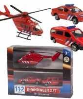Brandweer speelgoed wagens en helikopter