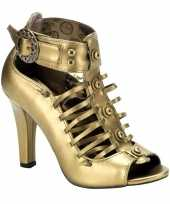 Bronzen steampunk sandalen met hak