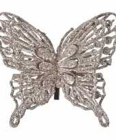 Champagne kerstboom versiering vlinder 13 cm