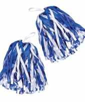 Cheerballs pom poms in het blauw wit