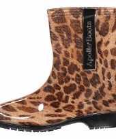 Dames regen laarzen met luipaardprint