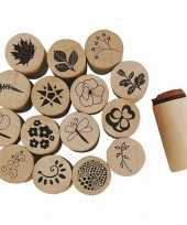 Deco houten stempelset bloemen