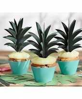 Decoratie cocktailprikkers ananas blaadjes 6 stuks