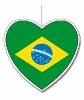 Decoratie hart met braziliaanse vlag 30 cm