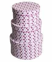 Etalage versiering rond doosje hartjes paars 16 cm