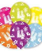 Feestartikelen gekleurde ballonnen 4 jaar 6 stuks