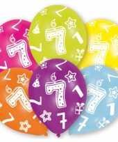 Feestartikelen gekleurde ballonnen 7 jaar 6 stuks