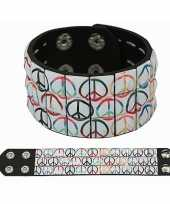 Flower power armband met peace studs