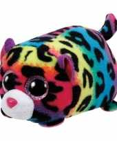 Gekleurde luipaard ty teeny knuffel jelly 10 cm