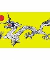 Groene vlag met zwart witte draak 90 x 150 cm
