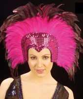 Grote luxe hoofdtooi met veren roze