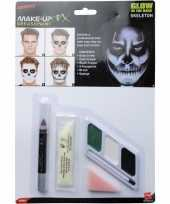 Halloween glow in the dark make up skelet