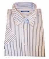 Heren overhemd wit gestreept met korte mouwen 10015781