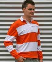 Heren rubyshirt oranje gestreept