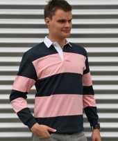Heren rugbyshirts navy met roze