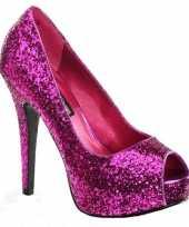 Hoge roze glitter pumps met open teen
