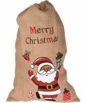 Kerst cadeauzak kerstman jute 90 cm
