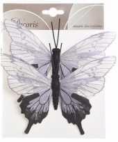Kerstversiering vlinders wit lila set van twee type 2