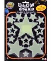 Kinderkamer decoratie plastic sterren geel 13 stuks glow in the dark