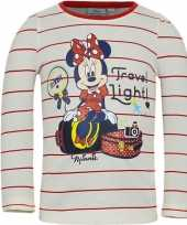 Kindershirt minnie mouse wit met rode strepen