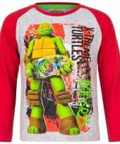 Kindershirt ninja turtles michelangelo grijs